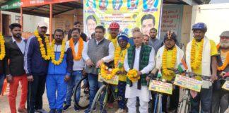 गुजरात से अरुणांचल जा रहे साइकिल यात्रियों का कुशीनगर में हुआ स्वागत!