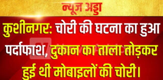 कुशीनगर: चोरी की घटना का हुआ पर्दाफाश, दुकान का ताला तोड़कर हुई थी मोबाइलों की चोरी।