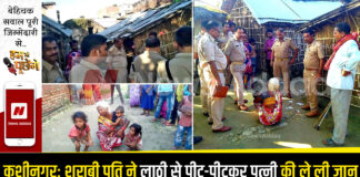 Kushinagar: Drunken husband killed his wife by beating her with sticks